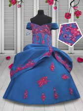 Enchanting Blue Ball Gowns Off The Shoulder Sleeveless Taffeta Floor Length Lace Up Beading and Appliques and Pick Ups Little Girls Pageant Dress