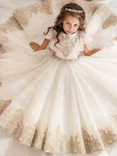 Bateau Short Sleeves Lace Little Girls Pageant Dress Beading and Lace Zipper