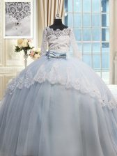 Custom Made Scalloped Light Blue Tulle Lace Up Quinceanera Dresses Half Sleeves Brush Train Beading and Lace and Bowknot