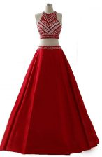 Scoop Sleeveless Chiffon Floor Length Zipper Prom Dress in Wine Red with Beading