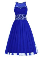 Superior Knee Length Royal Blue Homecoming Dress Scoop Sleeveless Zipper
