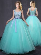 Fantastic Aqua Blue Tulle Lace Up Scoop Sleeveless Floor Length Quince Ball Gowns Appliques and Belt