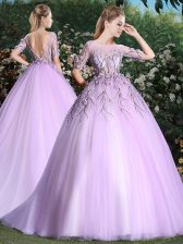 Scoop Lilac Backless 15 Quinceanera Dress Appliques Short Sleeves With Brush Train
