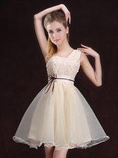 A-line Vestidos de Damas Champagne One Shoulder Organza Sleeveless Mini Length Lace Up