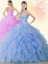 Traditional Blue Ball Gowns Organza Sweetheart Sleeveless Beading and Ruffles Floor Length Lace Up Sweet 16 Dresses