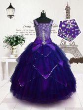 Purple Sleeveless Floor Length Beading and Belt Lace Up Kids Formal Wear