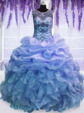 Spectacular Ball Gowns Quince Ball Gowns Blue Scoop Organza Sleeveless Floor Length Lace Up