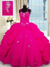 With Train Ball Gowns Sleeveless Fuchsia 15th Birthday Dress Brush Train Lace Up
