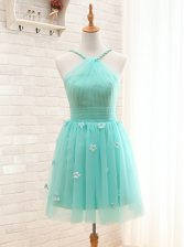 Eye-catching Aqua Blue A-line Tulle Straps Sleeveless Hand Made Flower Mini Length Lace Up Prom Gown