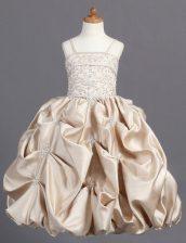 Pick Ups Floor Length Ball Gowns Sleeveless Champagne Toddler Flower Girl Dress Zipper