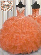 Wonderful Orange Red Organza Lace Up Sweetheart Sleeveless Floor Length 15 Quinceanera Dress Beading and Ruffles