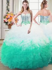 Multi-color Ball Gowns Beading and Ruffles Quinceanera Gown Lace Up Organza Sleeveless Floor Length