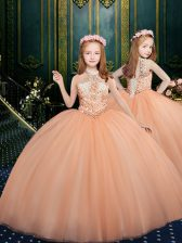 Halter Top Sleeveless Tulle Child Pageant Dress Beading Lace Up