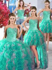 Glorious Four Piece Ball Gowns Quinceanera Gowns White and Turquoise Sweetheart Organza Sleeveless Floor Length Lace Up