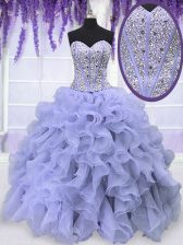 Fantastic Lavender Organza Lace Up 15 Quinceanera Dress Sleeveless Floor Length Beading and Ruffles
