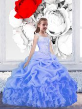 Baby Blue Ball Gowns Straps Sleeveless Organza Floor Length Lace Up Beading and Ruffles and Pick Ups Flower Girl Dresses for Less