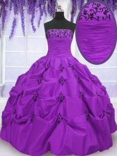 Beautiful Taffeta Strapless Sleeveless Lace Up Embroidery and Pick Ups 15 Quinceanera Dress in Eggplant Purple