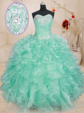 Modest Sweetheart Sleeveless Organza 15th Birthday Dress Beading and Ruffles Lace Up