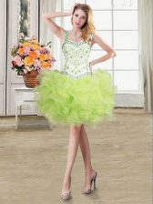 Straps Floor Length Yellow Green Prom Party Dress Organza Sleeveless Beading and Ruffles