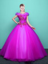 Low Price Fuchsia Scoop Lace Up Appliques Quince Ball Gowns Short Sleeves