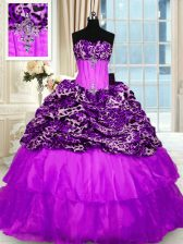 Organza and Printed Strapless Sleeveless Sweep Train Lace Up Beading and Ruffled Layers Sweet 16 Dresses in Purple