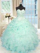 Most Popular Floor Length Apple Green Sweet 16 Dresses Sweetheart Sleeveless Lace Up