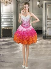 Sumptuous Multi-color Sweetheart Lace Up Beading and Ruffles Prom Dresses Sleeveless