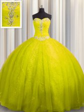 Elegant Sweetheart Sleeveless Tulle and Sequined Sweet 16 Quinceanera Dress Beading and Appliques Court Train Lace Up