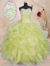Yellow Green Sleeveless Floor Length Beading and Ruffles Lace Up Quinceanera Dress