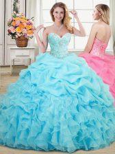 Unique Pick Ups Sweetheart Sleeveless Lace Up Sweet 16 Dress Aqua Blue Organza