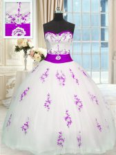 Organza Sleeveless Floor Length Sweet 16 Quinceanera Dress and Appliques and Belt