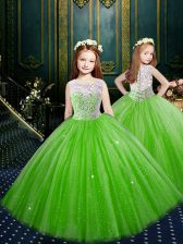 Scoop Floor Length Clasp Handle Little Girl Pageant Gowns for Party and Wedding Party with Appliques