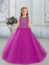 Ball Gowns Little Girls Pageant Dress Wholesale Fuchsia Bateau Tulle Sleeveless Floor Length Lace Up
