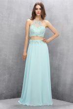 Nice Halter Top Sleeveless Sweep Train Zipper Prom Gown Light Blue Tulle