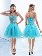 Tulle Sleeveless Knee Length Evening Dress and Beading