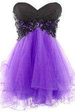 Unique Lavender Tulle Lace Up Sweetheart Sleeveless Mini Length Evening Dress Appliques