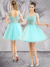 Tulle Sleeveless Mini Length Prom Dress and Appliques