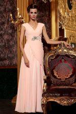 Column/Sheath Evening Dress Baby Pink V-neck Chiffon Cap Sleeves Floor Length Side Zipper