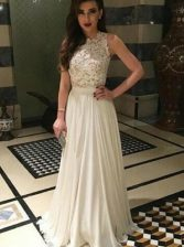 Dazzling White Prom Gown Prom and Party with Lace Scoop Sleeveless Zipper
