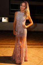 Scoop Floor Length Mermaid Sleeveless White Prom Evening Gown Zipper