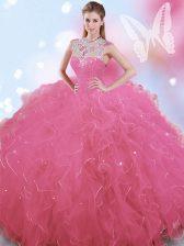 Elegant Rose Pink Ball Gowns Tulle High-neck Sleeveless Beading Floor Length Zipper Sweet 16 Dresses