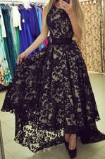 Best Selling Lace Asymmetrical Black Prom Dresses Scoop Sleeveless Zipper
