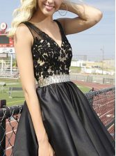 Fancy Sleeveless Beading and Appliques Zipper Prom Dresses