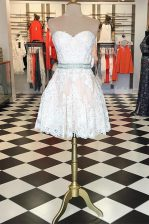 White Lace Zipper Prom Gown Sleeveless Knee Length Lace