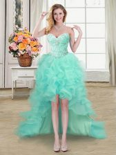 Spectacular A-line Dress for Prom Apple Green Sweetheart Organza Sleeveless High Low Lace Up