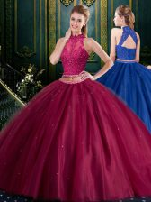 Halter Top Two Pieces Quinceanera Dresses Burgundy High-neck Tulle Sleeveless Floor Length Lace Up