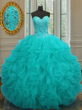 Unique Aqua Blue Ball Gowns Sweetheart Sleeveless Organza Floor Length Lace Up Beading and Ruffles Quinceanera Dress