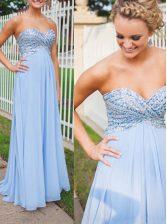 Light Blue Chiffon Backless Prom Gown Sleeveless Floor Length Beading