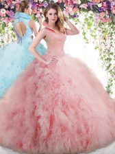 Baby Pink Tulle Backless Vestidos de Quinceanera Sleeveless Floor Length Beading and Ruffles