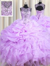 High Class Scoop Lavender Organza Lace Up Sweet 16 Dresses Sleeveless Floor Length Beading and Ruffles and Pick Ups